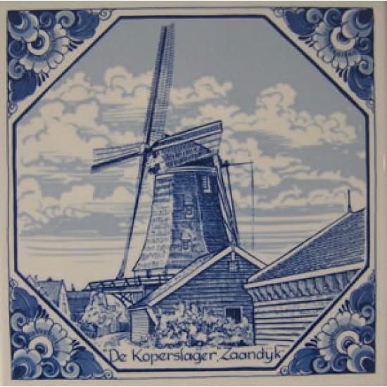 Delfts blauw tegel molen koperslager zaandijk