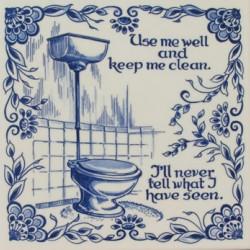 TILE DELFT BLUE TOILET CLEAN 15 x 15 CM