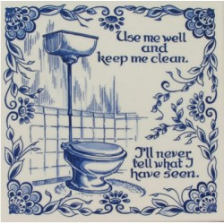 TILE DELFT BLUE TOILET CLEAN 15 x 15 CM