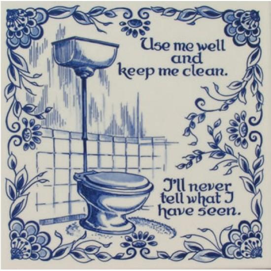Delfts blauw tegel toilet clean 15 x 15 cm