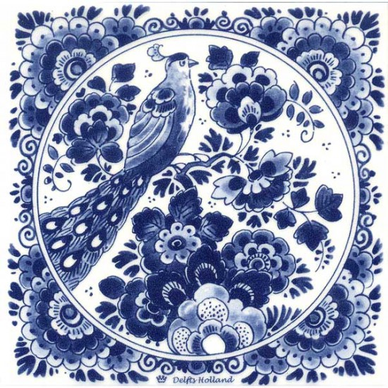 DELFT BLUE TILE BIRD FLOWERS