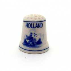 THIMBLE  WINDMILL DELFT BLUE CERAMIC