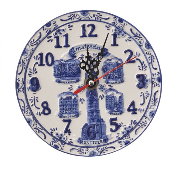 DELFT BLUE PLAQUE CLOCK AMSERDAM EMBOSSED 20 CM