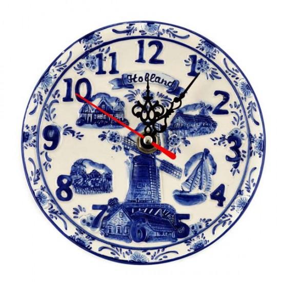 DELFT BLUE PLAQUE CLOCK HOLLAND EMBOSSED 14 CM