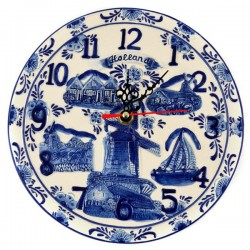 DELFT BLUE PLAQUE CLOCK HOLLAND EMBOSSED 20 CM