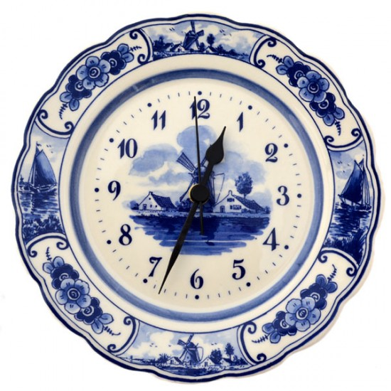 DELFT BLUE WALL PLATE CLOCK WINDMILL LANDSCAPE 22 CM