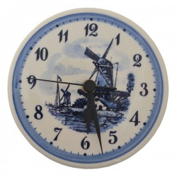 DELFT BLUE WALL CLOCK WINDMILL LANDSCAPE 15 CM
