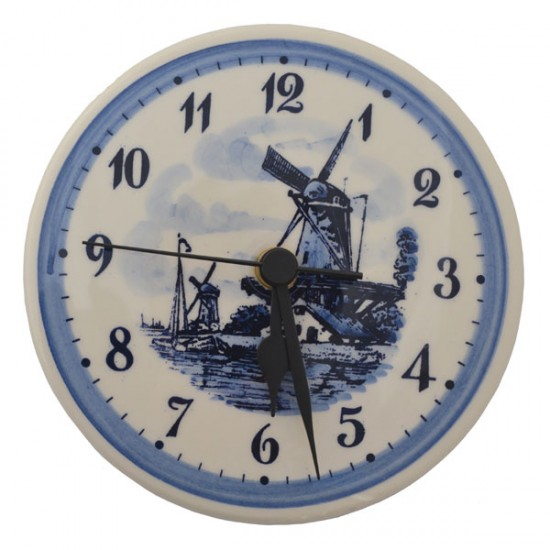DELFT BLUE WALL CLOCK WINDMILL LANDSCAPE 15 CM