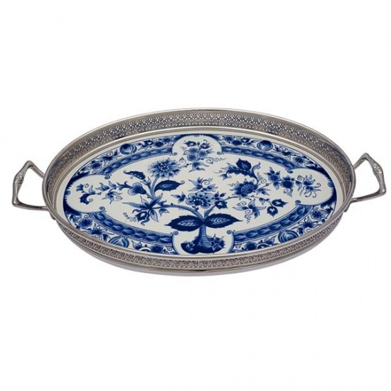 SERVING TRAY DELFT BLUE FLOWERS LARGE