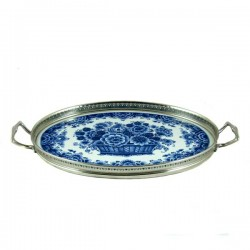 TRAY DELFT BLUE FLOWER BASKET LARGE