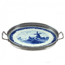 TRAY DELFT BLUE MILL LARGE
