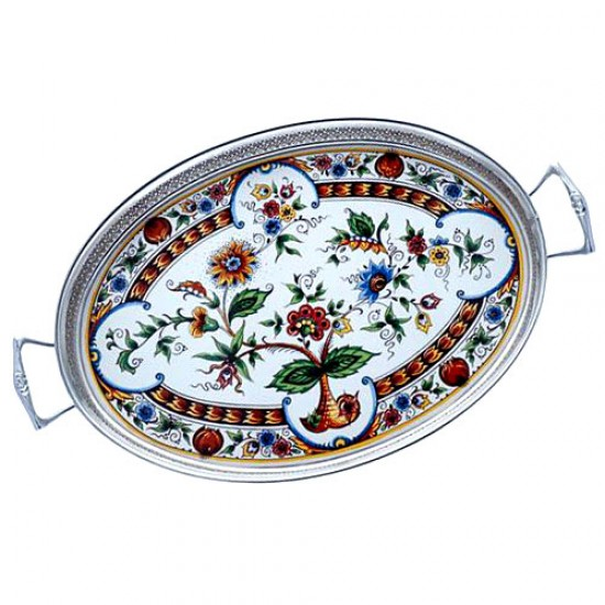 Serving tray polychrome color flowers large