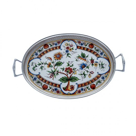 Serving tray polychrome flowers small