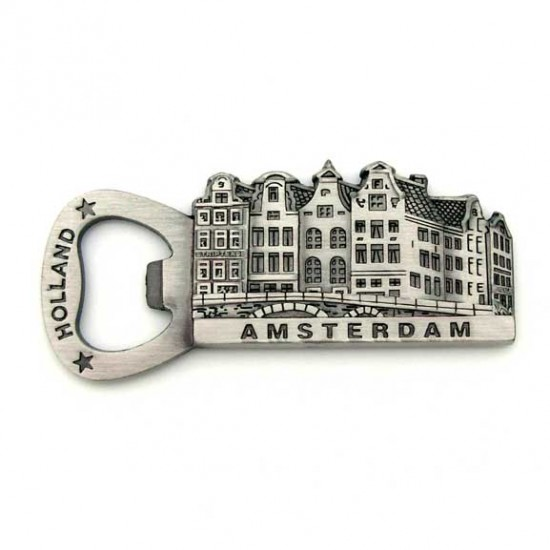 BOTTLE OPENER FRIDGE MAGNET AMSTERDAM TIN COLORED