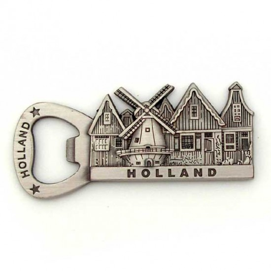 BOTTLE OPENER FRIDGE MAGNET HOLLAND WINDMILL TIN COLORED