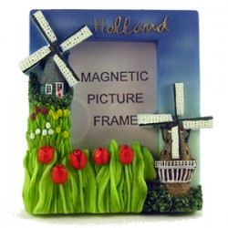 FRIDGE MAGNET PHOTO FRAME WINDMILL TULIPS 6 x 7 CM