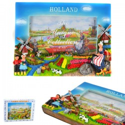PHOTO FRAME HOLLAND BIKE TULIPS WINDMILL POLYSTONE