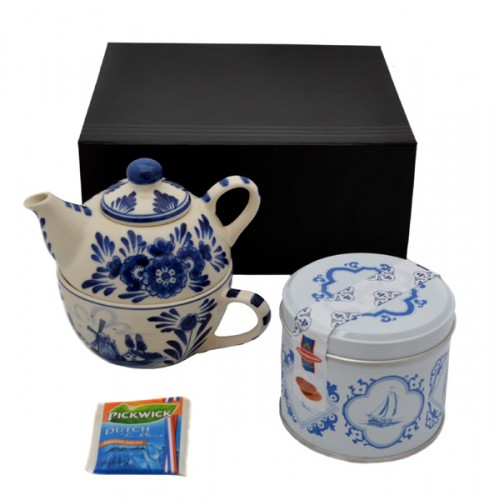 gift set delfter blau tea for one deluxe geschirr holland souvenir shop nl. Black Bedroom Furniture Sets. Home Design Ideas