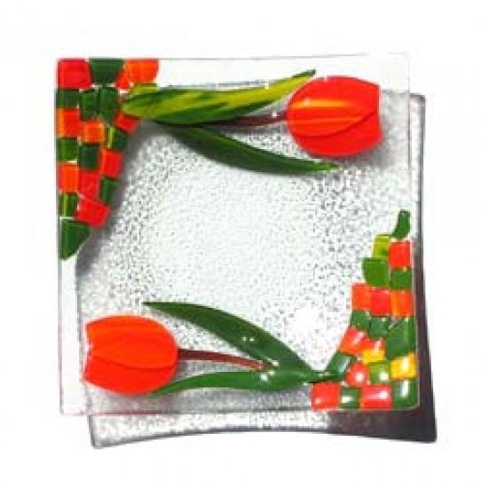 DISH GLASS TULIP 23 X 23 CM