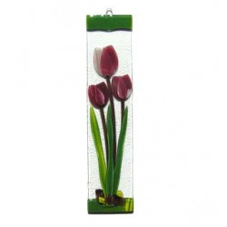 SUNCATCHER GLASS TULIP BORDEAUX 7 x 30 CM