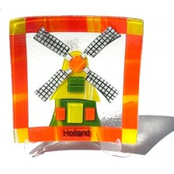 GLASS DISH WINDMILL ORANGE 18 X 18 CM