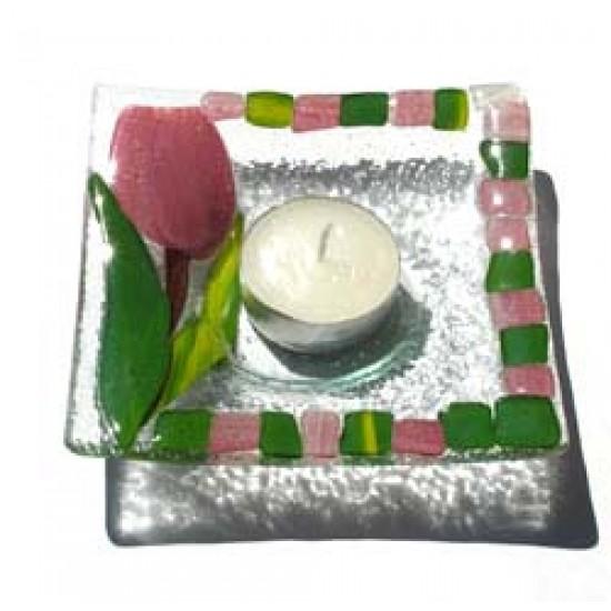 Glazen schaal tulp waxine bordeaux 12 x 12 cm