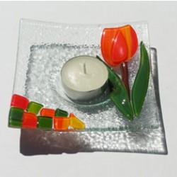 GLASS DISH TULIP WAXINE ORANGE 12 x 12 CM