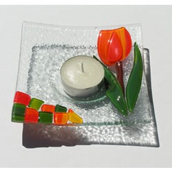GLASS DISH TULIP WAXINE ORANGE 12 x 12 CM