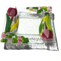 GLASS DISH TULIP PURPLE 15 X 15 CM