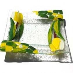 GLASS DISH TULIP YELLOW 15 X 15 CM