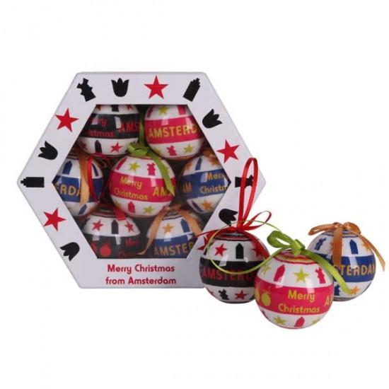 HOLLAND CHRISTMAS BALLS AMSTERDAM SET 6 CM