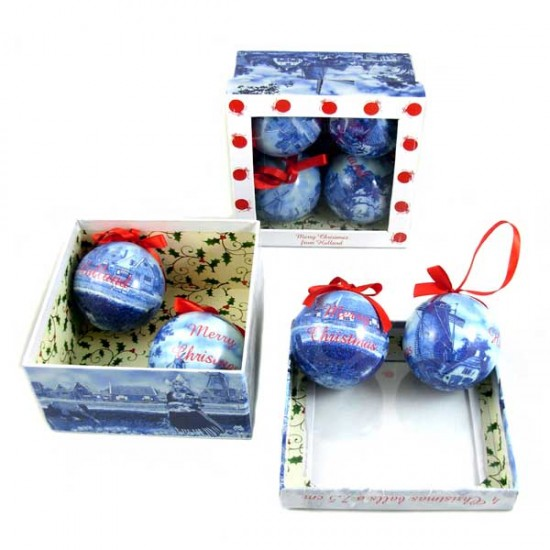 Holland christmas balls delft blue mill tulips set 6 cm