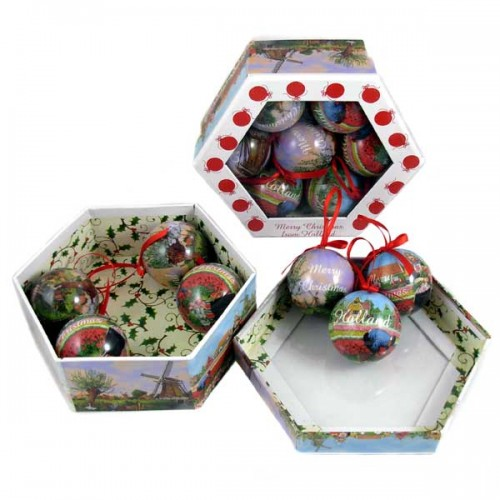 Christmas In Holland.Holland Christmas Balls Mill Tulips Set 6 Cm Christmas Specials