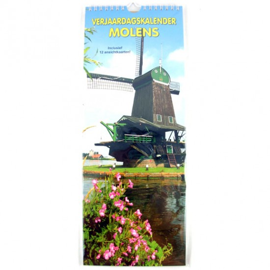 Holland molens verjaardags kalender 39,5 x 15 cm