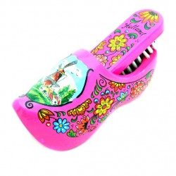 WOODEN SHOE BRUSH BRIGHT PINK