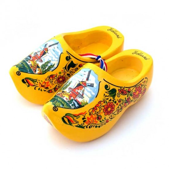 WOODEN SHOES HOLLAND YELLOW 14 CM