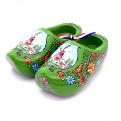 WOODEN SHOES HOLLAND GREEN 14 CM