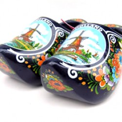 WOODEN SHOES HOLLAND WINDMILL FLOWERS BLUE 14 CM
