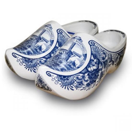 Houten klompen 14 cm holland molen / bloemen delfts blauw