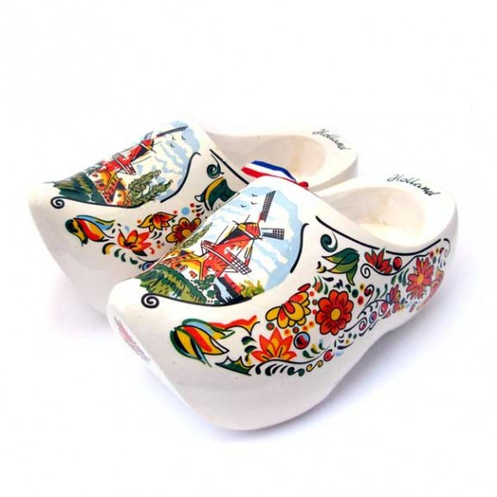 WOODEN SHOES HOLLAND WINDMILL / FLOWERS WHITE MULTI 14 CM