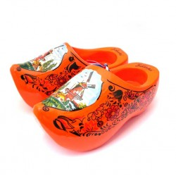 WOODEN SHOES HOLLAND ORANGE 14 CM