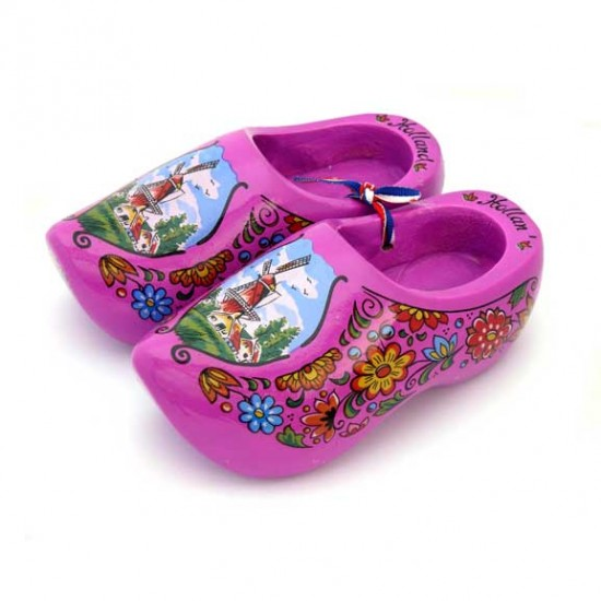 WOODEN SHOES HOLLAND PURPLE 14 CM