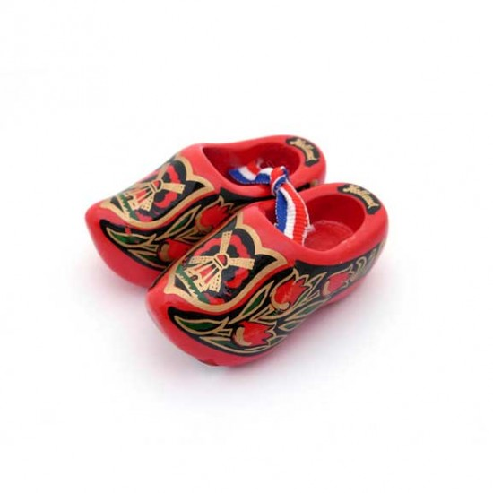 WOODEN SHOES HOLLAND RED GOLD 6 CM