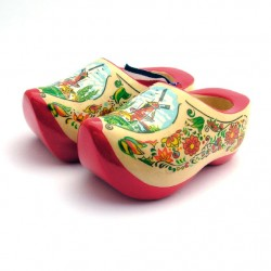 WOODEN SOUVENIR CLOGGIES  BLANK MILL FLOWERS RED SOLE 10 CM