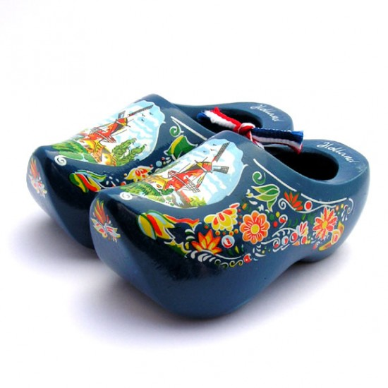 Wooden souvenir cloggies  mill flowers / blue 10 cm