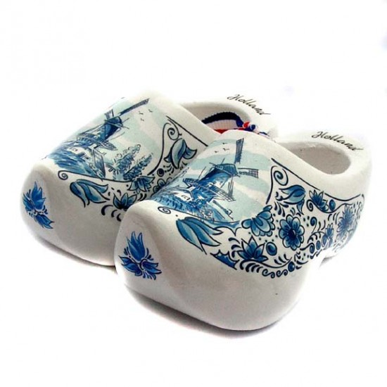 WOODEN SOUVENIR CLOGGIES MILL FLOWERS DELFT BLUE 10 CM