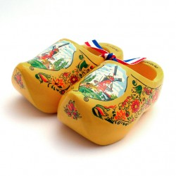 WOODEN SOUVENIR CLOGGIES MILL FLOWERS YELLOW 10 CM