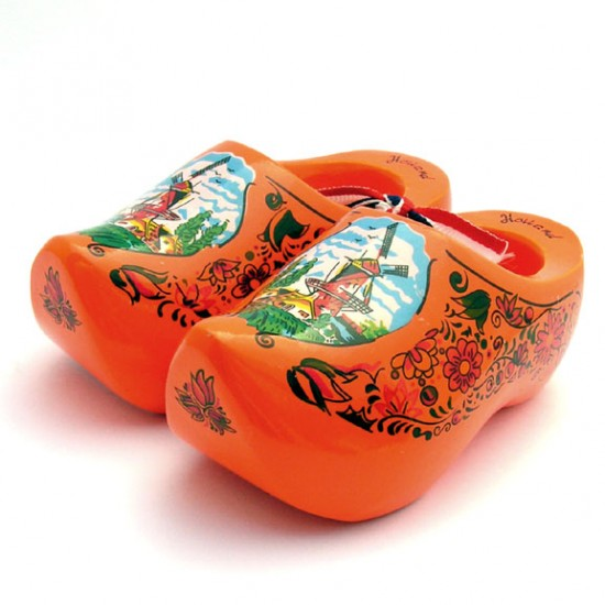 WOODEN SOUVENIR CLOGGIES MILL FLOWERS ORANGE 10 CM