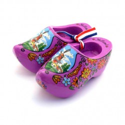 WOODEN SHOES WINDMILL FLOWERS PURPLE 10 CM