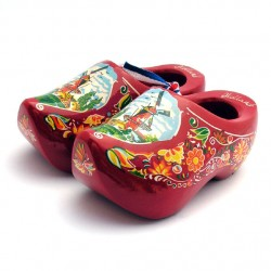 WOODEN SOUVENIR CLOGGIES MILL FLOWERS RED 10 CM